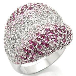 Brass Ring Rhodium Women AAA Grade CZ Multi Color